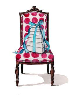 presents chair fashion illustration by tracy hetzel