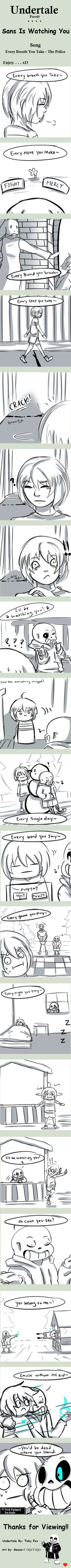 Undertale/comic/parody/firsk/sans/papyrus/funny/every breath you take-the police/song