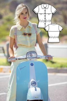 Retro Peplum Shirt 06/2015 #109 http://www.burdastyle.com/pattern_store/patterns/retro-peplum-shirt-062015?utm_source=burdastyle.com&utm_medium=referral&utm_campaign=bs-tta-bl-150525-retroromance109