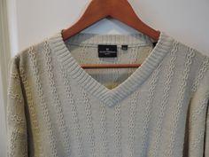 Hickey Freeman Big Man Linen/ Cotton Solid Off White V Neck Sweater SZ 2XL Mint #HickeyFreeman #VNeck