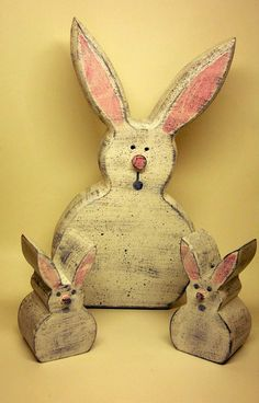 White Bunny painted in a primitive style by CarolinaCountryCraft, $14.00