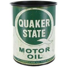 Genuine QUAKER STATE Motor Oil Metal Can Container Retro Vintage Style Gasoline Gas Station MAN CAVE Great Father's Day Gift