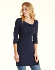 Knot Neck Tunic in Navy by Pepperberry Tops