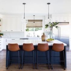 Home Decor Accessories Brown Leather Counter Chairs in kitchen with navy kitchen. Home Decor Accessories Brown Leather Counter Chairs in kitchen with navy kitchen island via Puresaltinteriors Layout Design, Küchen Design, Home Design, Interior Design, Design Ideas, Design Inspiration, Interior Ideas, Navy Kitchen, Kitchen Decor
