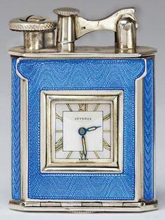 """Antique Lighter Blue hard glass 1920s"