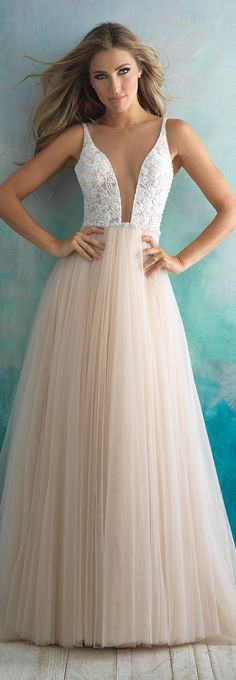 Wedding Dress by Allure Bridals | The star of this soft tulle ballgown is undoubtedly the dramatic bodice | #weddingdress #bridalgown #wedding #bride #bridal