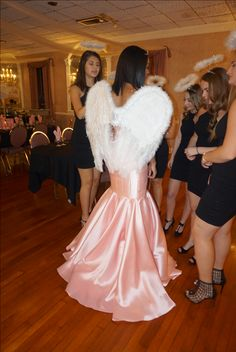 Victoria's Secret themed Sweet 16 dress and angel wings Sweet Sixteen Themes, Sweet Sixteen Dresses, Sweet 16 Dresses, Pink Party Dresses, Birthday Dresses, Pink Dress, Victoria Secret Party, Victoria Secret Dress, 16th Birthday Decorations