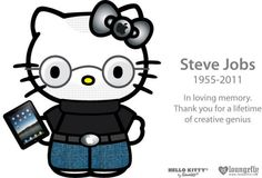 Sanrio, Japan's kawaii character company and home of cuteness queen Hello Kitty, teamed up with California goods retailer LoungeFly to thank Apple's inspirational CEO, the late Steve Jobs, for a lifetime of creativity. The result was a bizarrely cute Johnny Depp, Hello Kitty Halloween, Hello Kitty Art, Kawaii, Maneki Neko, All Things Cute, Hello Dear, Doll Maker, Geek Girls