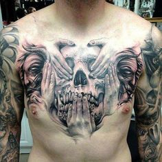 "This particular skull puts a new spin on the idea of The Three Wise Monkeys known for their infamous ""see no evil, hear no evil, speak no evil"" mantra. Tattoo by Carl Grace."