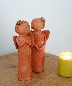 Engel aus Keramik Set 2 Stück Weihnachtsdeko homedeko