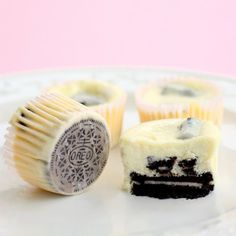 Cookies and Cream cheesecakes. Individual cheesecakes with an oreo for the bottom crust.