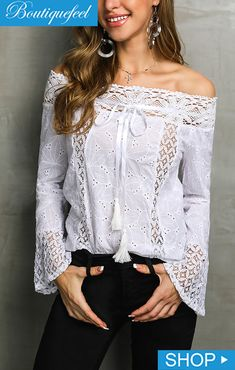 Stylish Lace Off Shoulder Casual Blouse price : , # Women's Trendy Clothes Online. Look Fashion, Womens Fashion, Fashion Styles, Long Sleeve Bodysuit, Trendy Outfits, Stylish Dresses, Pattern Fashion, Fashion Prints, Sleeve Styles