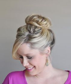 A high ballerina bun, like this one created (and modeled) for Real Simple by The Small Things blogger Kate Bryan, is always elegant. This one offers casual nonchalance, too.