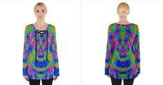 Boho Hippie Retro Psychedlic Neon Rainbow Women's Tie Up Tee   CowCow