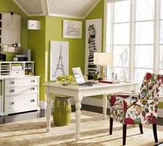 I like a lot of green colors, but this with the white furniture(which we have already), just sings energy, and nature, it's happy too! Lord if this is your plan for me, may I be able to paint some of my office white and some of it this happy green!