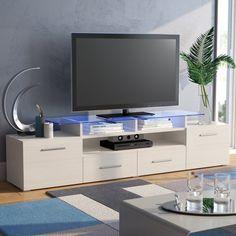 Orren Ellis Damian TV Stand for TVs up to 76 inches Color: Wenge/White Tv Unit Design, Tv Wall Design, Wood Design, Elegant Home Decor, Elegant Homes, Tv Unit Furniture, Modern Furniture, Bedroom Furniture, Living Room Tv Unit
