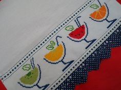 PANO DE COPA - REF.: PC-PC 050   AnaDjuli   Elo7 Cross Stitch Borders, Cross Stitch Designs, Cross Stitching, Cross Stitch Embroidery, Applique Towels, Cross Stitch Kitchen, Sewing Appliques, Needlepoint, Needlework