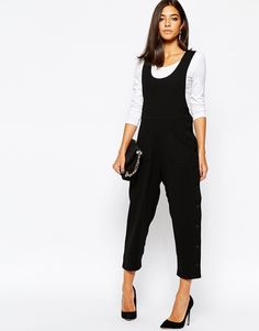 Image 4 of Sisley Cropped Jumpsuit with Button Detail in Black