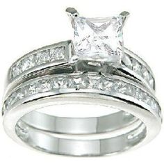 Princess Cut Cubic Zirconia CZ Wedding and Engagement Ring Set in Sterling Silver Size 5, (affordable, bridal sets)