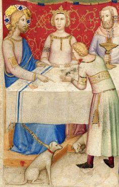 Jesus Christ and his dog (Wedding at Cana). 'Bible historiée toute figurée', Naples ca. 1350 (Paris, BnF, Français 9561, fol. 142v)