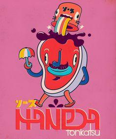 Fake Japanese Vintage Ad Characters! by Juan Molinet, via Behance
