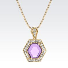 If you love geometric jewelry, this hexagon amethyst and diamond pendant belongs in your jewelry box! #ShaneCo #ShaneCoChic