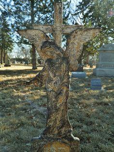 Metal Angel at Evergreen Cemetery in York, NE.
