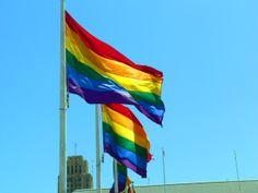Rainbow Flags near City Hall San Francisco ready for Pride month.