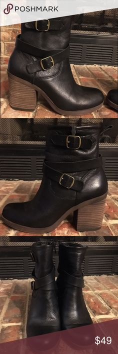"""Lucky Brand Boots EUC Women's size 7 lucky brand boots with heel, worn once, has """"vintage worn"""" look on bottom but you can tell they've not been walked in. Leather upper. Very comfy with side zippers and fits thick and thin ankles. Lucky Brand Shoes Heeled Boots"""