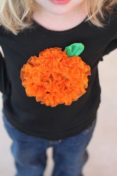 Afternoon t-shirt: Gather sheer ribbon and sew in a circle with a little green ribbon for the stem.