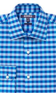 The Americano - Semi-Spread Collar - Bright Blue Gingham