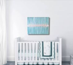 If youre looking for nursery decor, heres a unique idea! Theres nothing more exciting than seeing that little heartbeat flicker on the screen at your sonogram. When you provide a picture of the heartbeat from a sonogram (or an audio recording of the heartbeat), Ill create a one-of-a-kind piece of art for you inspired by your babys own heartbeat. These heartbeat paintings have either a silver or gold heartbeat line, and you choose your background colors!  This listing is for a 24x30 large…
