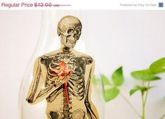 ON SALE Skeleton - Articulated Paper Doll based on the vintage anatomic illustration. Kraft paper, hand painted, MADE To Order.. $9.00, via Etsy.