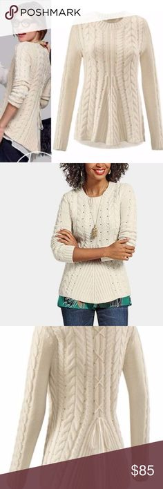 Cabi 2016 fall lace up pullover - Gorgeous!!! new without tags. there is a little cut in the label. new, never worn. no defect. Sz xl does not have the label. Does have the label with style number cabi Sweaters