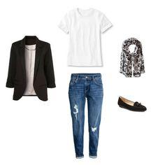 How To Wear Slim Boyfriend Jeans Outfit #3 - slim boyfriend jeans, black blazer, loafers, white tee, a rock concert outfit