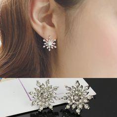 Fashion Crystal Rhinestone Snowflake Star Ear Stud Earring Wedding Bridal Gift #Fancyqube #Stud