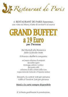 Lunch Grand Buffet de Paris