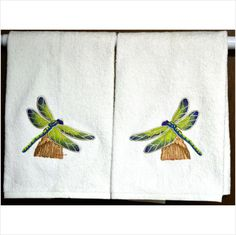 PERCHING DRAGONFLIES - STUNNING - 2 EMBROIDERED HAND TOWELS by Susan