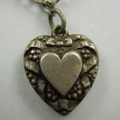 Sterling Silver Puffy Heart Charm ~  Double-sided Heart and Ribbon ~  Engraved 'DLW'