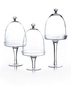 Silver Knob Glass Pedestals