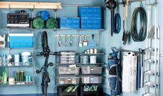Garage organization ideas, metal wall shelves.