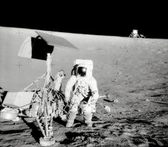 Conrad and Surveyor on the Slope of a Crater