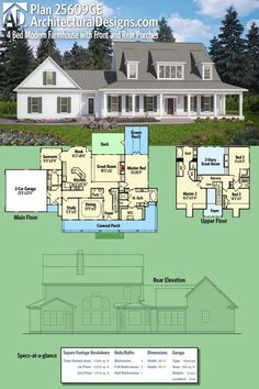 Architectural Designs Modern Farmhouse Plan 25609GE. This home gives you front and rear porches (and a deck and sunroom, too) and over 3,000 square feet of living spread across its two floors. Ready when you are. Where do YOU want to build? #25609GE #adhouseplans #architecturaldesigns #houseplan #architecture #newhome #newconstruction #newhouse #homedesign #dreamhome #dreamhouse #homeplan #architecture #architect #housegoals #Modernfarmhouse #Farmhouse #Openconcept #houses #homedesign