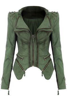Studded Shoulder Denim Blazer - Green from @LookBookStore