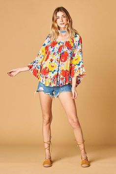99309784533114 Watercolor Floral Gauzy Print Peasant Off Shoulder Ruffle Sleeve Top