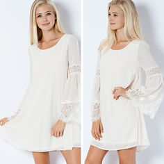Eyelash Lace Bell Sleeve Shift Dress - Cream - $39.00