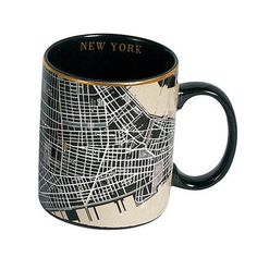 ACHICA   Seletti Map Mug, New York Black