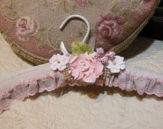 Bridal Vintage Hanger Hand Made, Embellished, Wedding, Lingerie, Prom, All Occasion, Satin, Very Pale Dusty Rose- Peach- One of A Kind