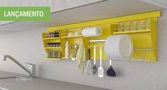 Simple and practical is a word to describe the design of a storage cabinet for all utensils and kitchen utensils. A simple design made of iron, this kitchen Interior, Home, Kitchen Storage, Kitchen Remodel, Kitchen Decor, House Interior, Home Kitchens, Apartment Kitchen, Kitchen Design