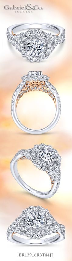 Gabriel & Co.-Voted #1 Most Preferred Fine Jewelry and Bridal Brand. 14k White/Rose Gold Round Double Halo  Engagement Ring